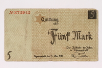 1990.16.59 front Lodz ghetto scrip, 5 mark note  Click to enlarge