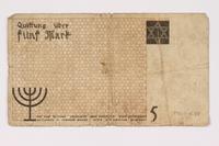 1990.16.59 back Łódź ghetto scrip, 5 mark note  Click to enlarge