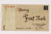 1990.16.60 front Łódź ghetto scrip, 5 mark note  Click to enlarge