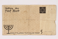 1990.16.60 back Łódź ghetto scrip, 5 mark note  Click to enlarge