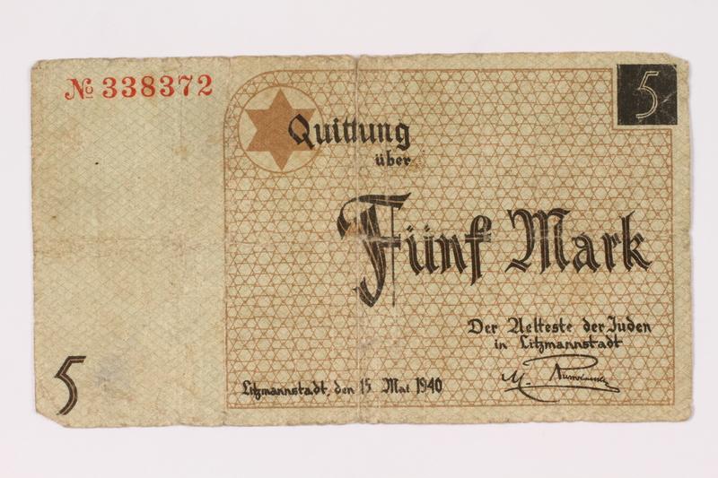 1990.16.61 front Lodz ghetto scrip, 5 mark note