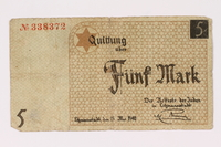 1990.16.61 front Łódź ghetto scrip, 5 mark note  Click to enlarge