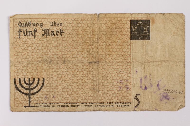 1990.16.61 back Lodz ghetto scrip, 5 mark note