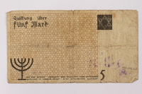 1990.16.61 back Łódź ghetto scrip, 5 mark note  Click to enlarge