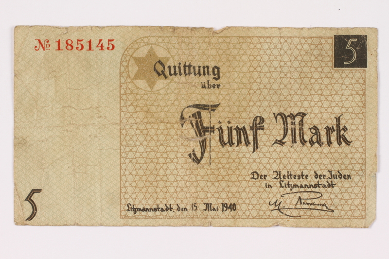 1990.16.62 front Łódź ghetto scrip, 5 mark note