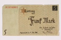 1990.16.63 front Lodz ghetto scrip, 5 mark note  Click to enlarge