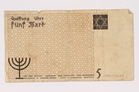 1990.16.63 back Lodz ghetto scrip, 5 mark note  Click to enlarge