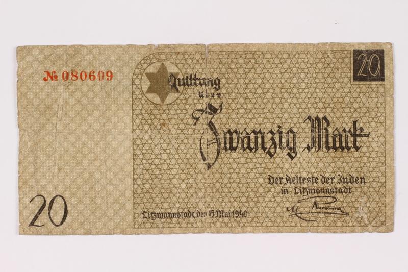 1990.16.65 front Łódź ghetto scrip, 20 mark note