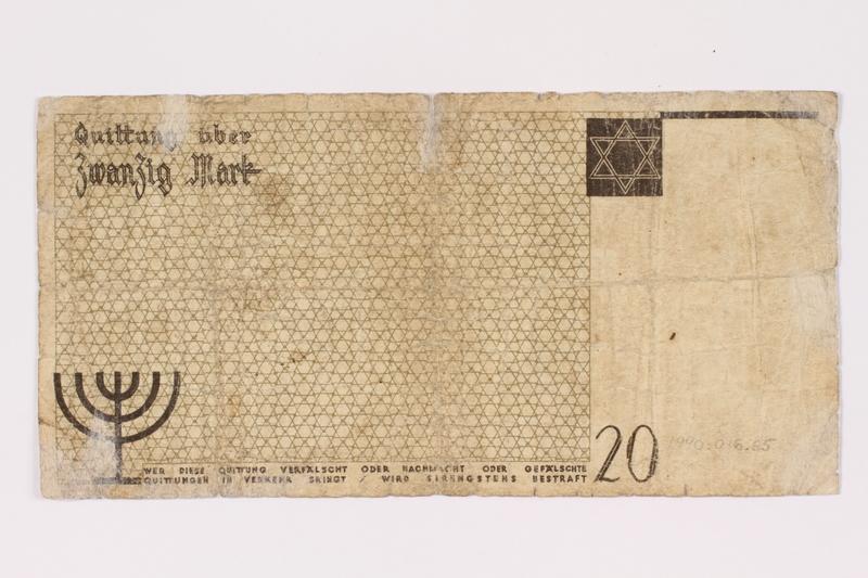 1990.16.65 back Łódź ghetto scrip, 20 mark note