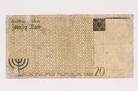 1990.16.65 back Łódź ghetto scrip, 20 mark note  Click to enlarge