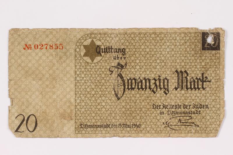 1990.16.66 front Łódź ghetto scrip, 5 mark note