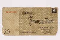 1990.16.66 front Lodz ghetto scrip, 5 mark note  Click to enlarge
