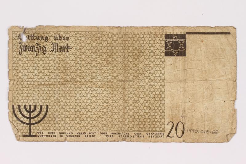 1990.16.66 back Łódź ghetto scrip, 5 mark note