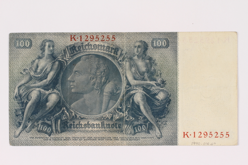 1990.16.67 back Paper currency note, 100 German marks