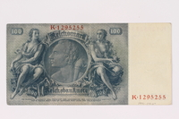 1990.16.67 back Paper currency note, 100 German marks  Click to enlarge