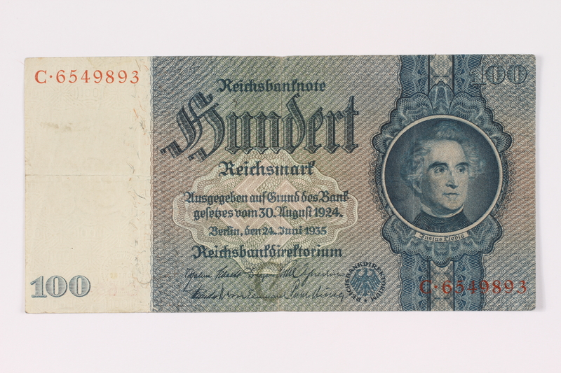 1990.16.68 front Paper currency note, 100 German marks