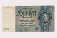 1990.16.68 front Paper currency note, 100 German marks  Click to enlarge