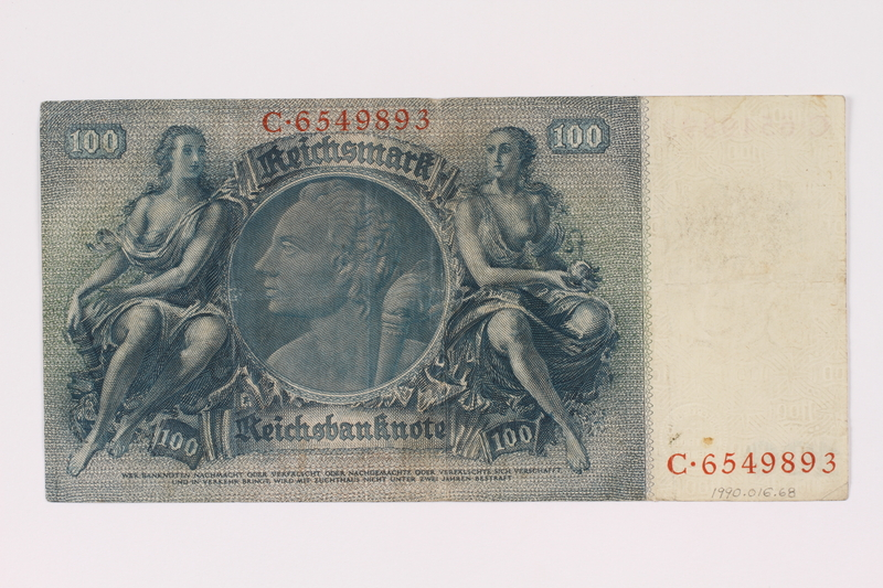 1990.16.68 back Paper currency note, 100 German marks