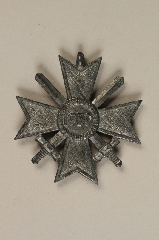 1990.160.1 back War Merit Cross 2nd Class with swords medal