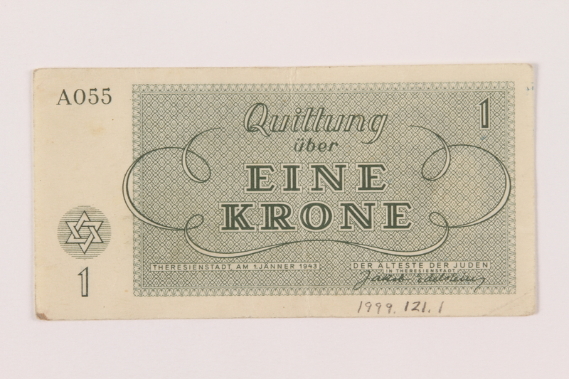 1999.121.1 back Theresienstadt ghetto-labor camp scrip, 1 krone note