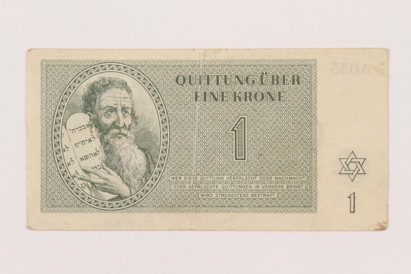 1999.121.1 front Theresienstadt ghetto-labor camp scrip, 1 krone note