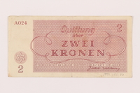 1999.121.10 back Theresienstadt ghetto-labor camp scrip, 2 kronen note  Click to enlarge