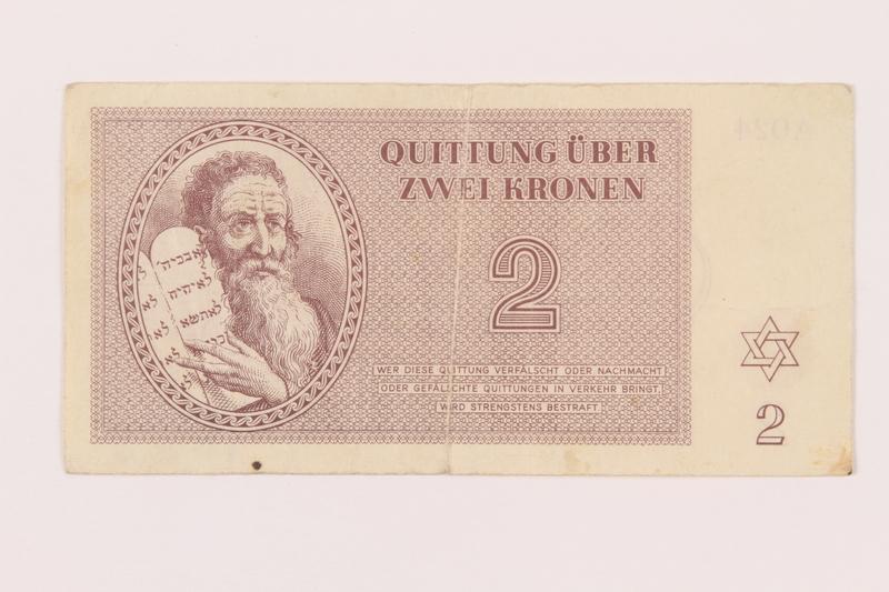 1999.121.10 front Theresienstadt ghetto-labor camp scrip, 2 kronen note