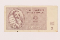 1999.121.10 front Theresienstadt ghetto-labor camp scrip, 2 kronen note  Click to enlarge