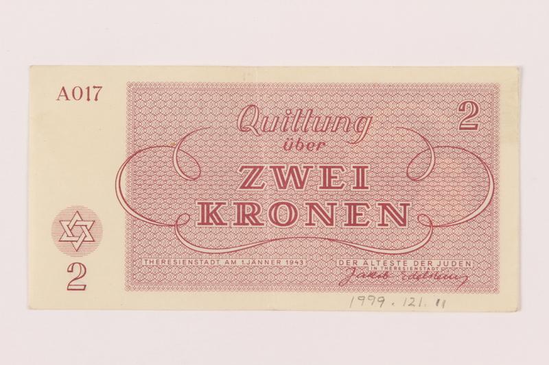 1999.121.11 back Theresienstadt ghetto-labor camp scrip, 2 kronen note
