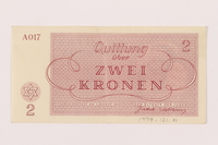 1999.121.11 back Theresienstadt ghetto-labor camp scrip, 2 kronen note  Click to enlarge