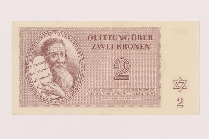 1999.121.11 front Theresienstadt ghetto-labor camp scrip, 2 kronen note