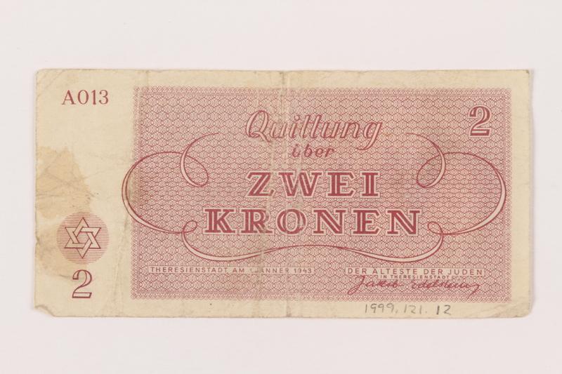 1999.121.12 back Theresienstadt ghetto-labor camp scrip, 2 kronen note