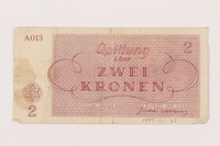 1999.121.12 back Theresienstadt ghetto-labor camp scrip, 2 kronen note  Click to enlarge
