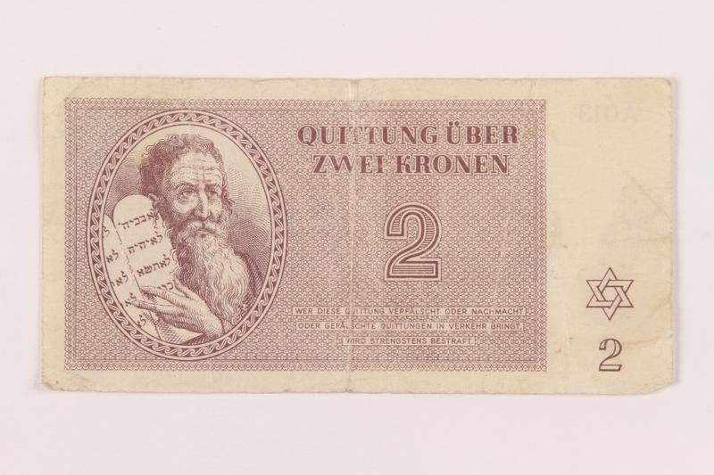 1999.121.12 front Theresienstadt ghetto-labor camp scrip, 2 kronen note