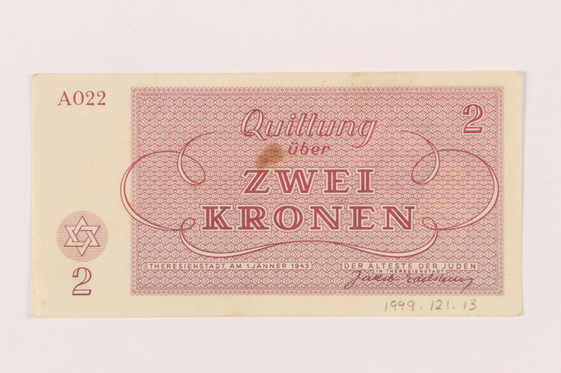 1999.121.13 back Theresienstadt ghetto-labor camp scrip, 2 kronen note