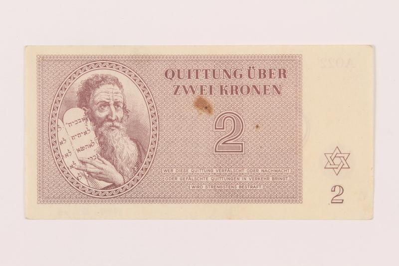1999.121.13 front Theresienstadt ghetto-labor camp scrip, 2 kronen note