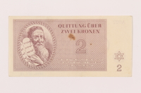 1999.121.13 front Theresienstadt ghetto-labor camp scrip, 2 kronen note  Click to enlarge
