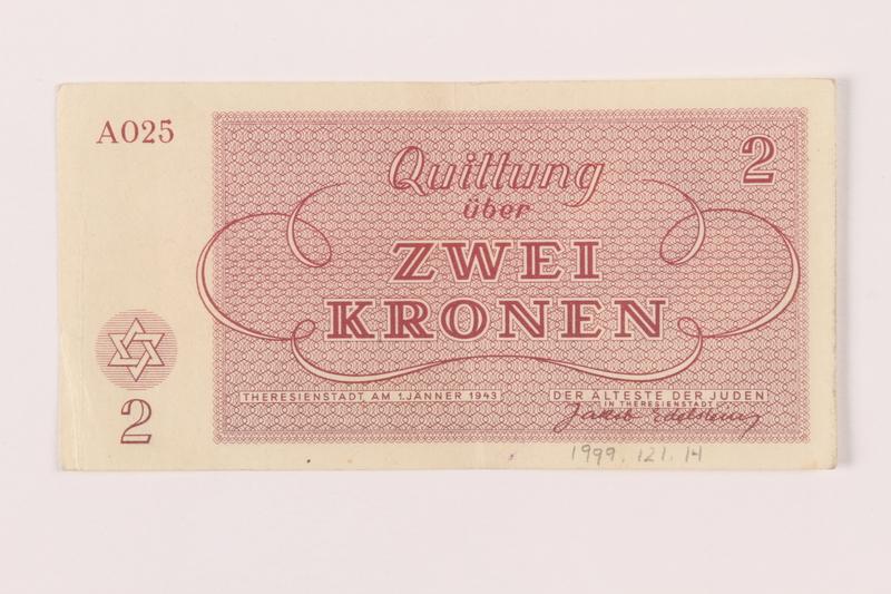 1999.121.14 back Theresienstadt ghetto-labor camp scrip, 2 kronen note