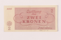 1999.121.14 back Theresienstadt ghetto-labor camp scrip, 2 kronen note  Click to enlarge