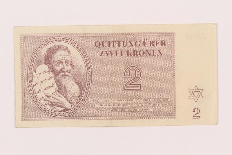 1999.121.14 front Theresienstadt ghetto-labor camp scrip, 2 kronen note
