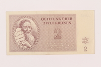 1999.121.14 front Theresienstadt ghetto-labor camp scrip, 2 kronen note  Click to enlarge