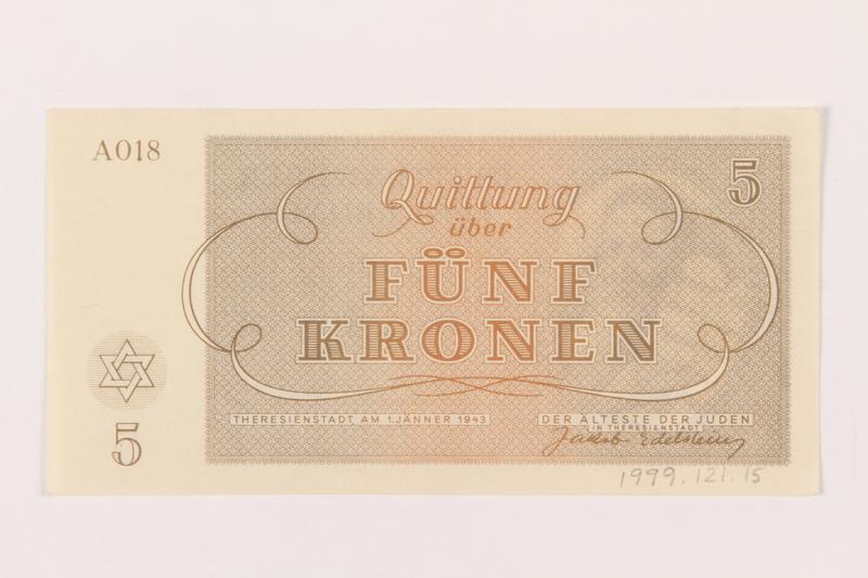 1999.121.15 back Theresienstadt ghetto-labor camp scrip, 5 kronen note