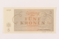1999.121.15 back Theresienstadt ghetto-labor camp scrip, 5 kronen note  Click to enlarge