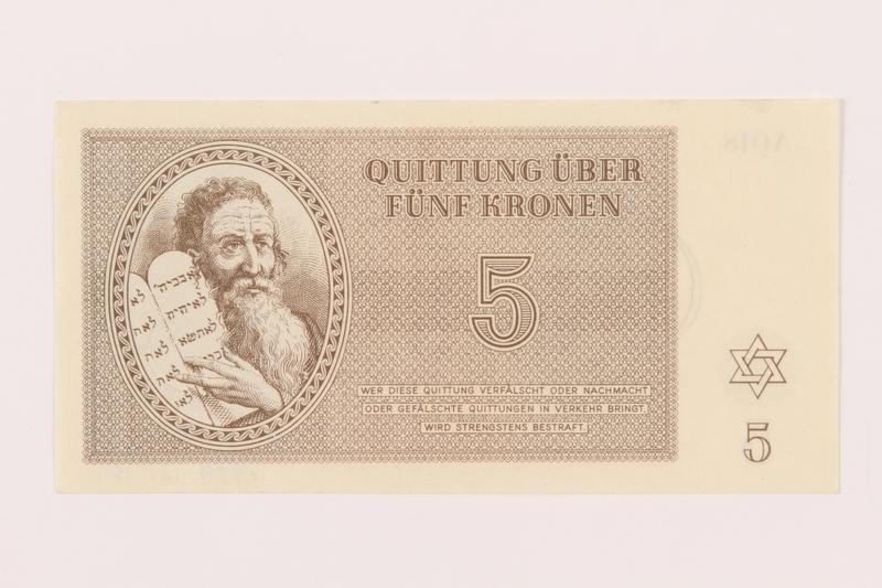 1999.121.15 front Theresienstadt ghetto-labor camp scrip, 5 kronen note