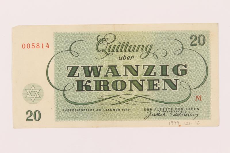 1999.121.16 back Theresienstadt ghetto-labor camp scrip, 20 kronen note