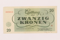 1999.121.16 back Theresienstadt ghetto-labor camp scrip, 20 kronen note  Click to enlarge