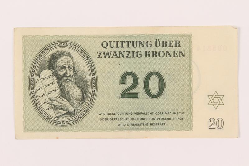 1999.121.16 front Theresienstadt ghetto-labor camp scrip, 20 kronen note
