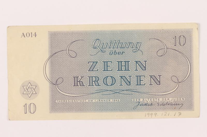 1999.121.17 back Theresienstadt ghetto-labor camp scrip, 10 kronen note