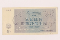 1999.121.17 back Theresienstadt ghetto-labor camp scrip, 10 kronen note  Click to enlarge