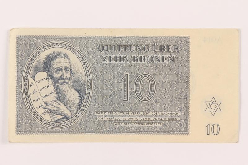 1999.121.17 front Theresienstadt ghetto-labor camp scrip, 10 kronen note